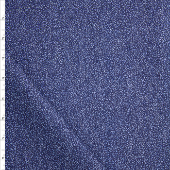 Light Blue Speckles on Indigo Heavy Denim Fabric By The Yard