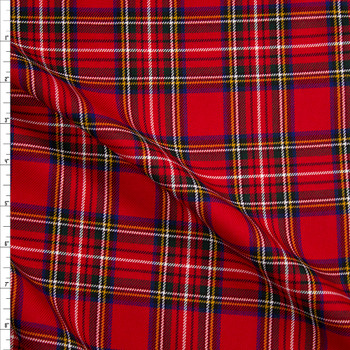 Red, Green, and Blue Tartan Plaid Twill Weave Suiting Fabric By The Yard