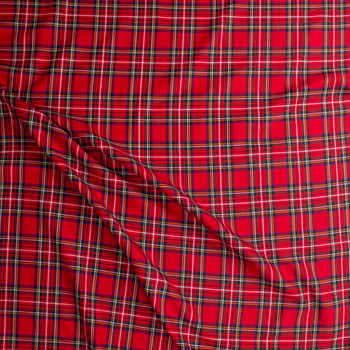 Red, Green, and Blue Tartan Plaid Twill Weave Suiting Fabric By The Yard - Wide shot