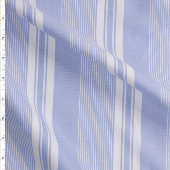 White and Light Blue Vertical Stripe Cotton Oxford Shirting Fabric By The Yard