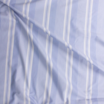 White and Light Blue Vertical Stripe Cotton Oxford Shirting Fabric By The Yard - Wide shot