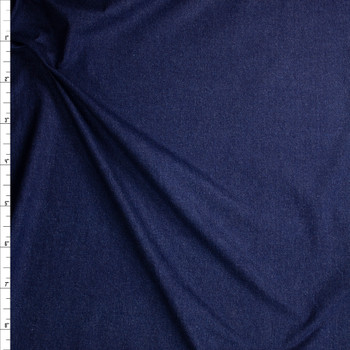 Deep Indigo Blue Washed Denim Fabric By The Yard