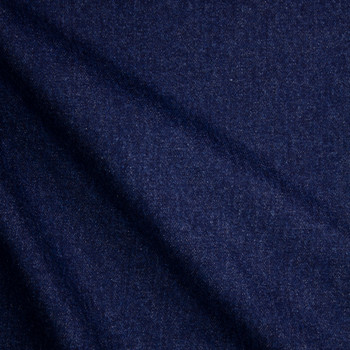 Deep Indigo Blue Washed Denim Fabric By The Yard - Wide shot