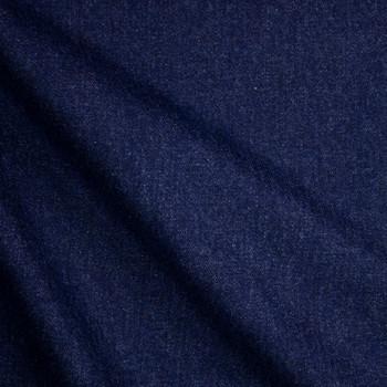Deep Indigo Blue Washed Denim Fabric By The Yard - Wide shot
