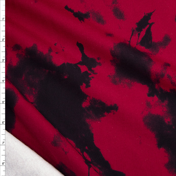 Deep Red and Black Tie Dye Midweight Sweatshirt Fleece Fabric By The Yard