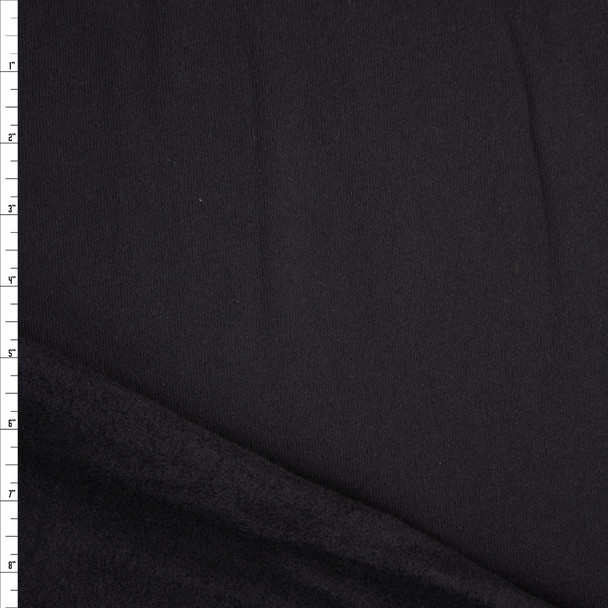 Black Solid Midweight Sweatshirt Fleece Fabric By The Yard