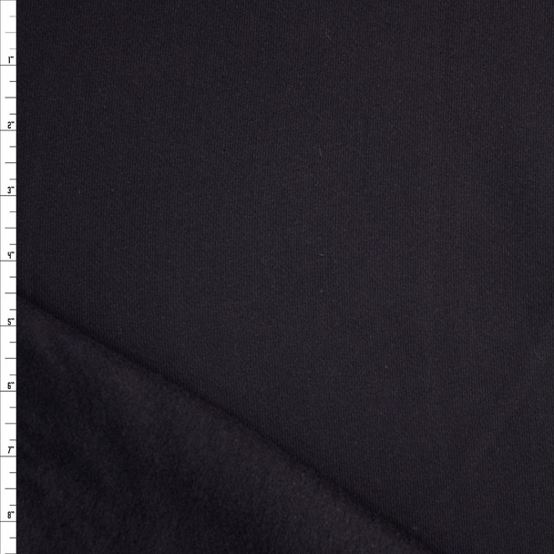 Black Solid Midweight Non-Stretch Sweatshirt Fleece Fabric By The Yard