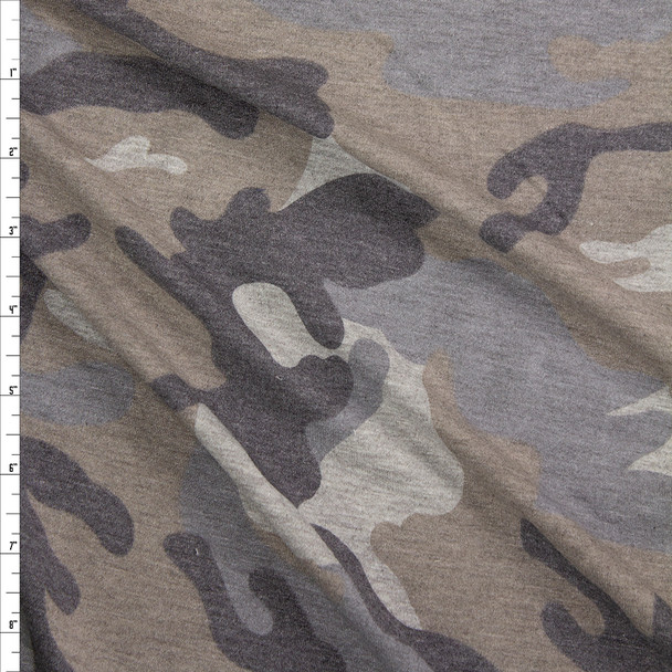 Grey Faded Heather Camouflage Rayon French Terry Fabric By The Yard