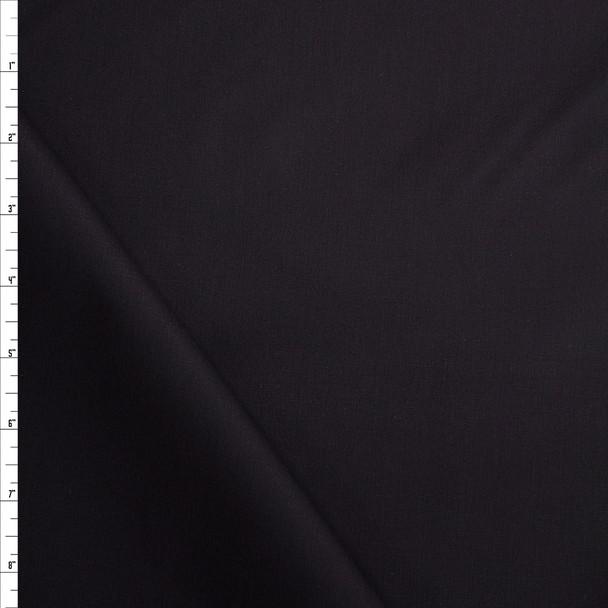 Black Stretch Cotton Poplin Fabric By The Yard