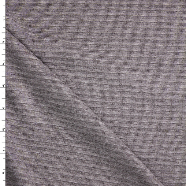 Grey Horizontal Rib Brushed Sweater Knit  Fabric By The Yard