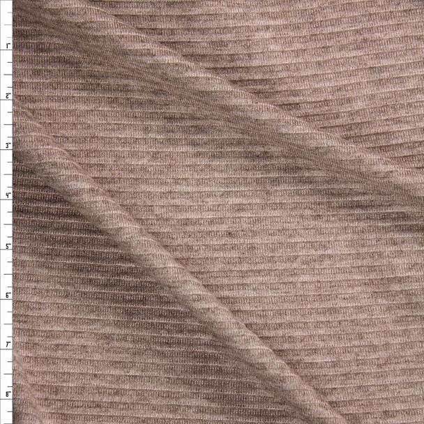 Tan Horizontal Rib Brushed Sweater Knit  Fabric By The Yard