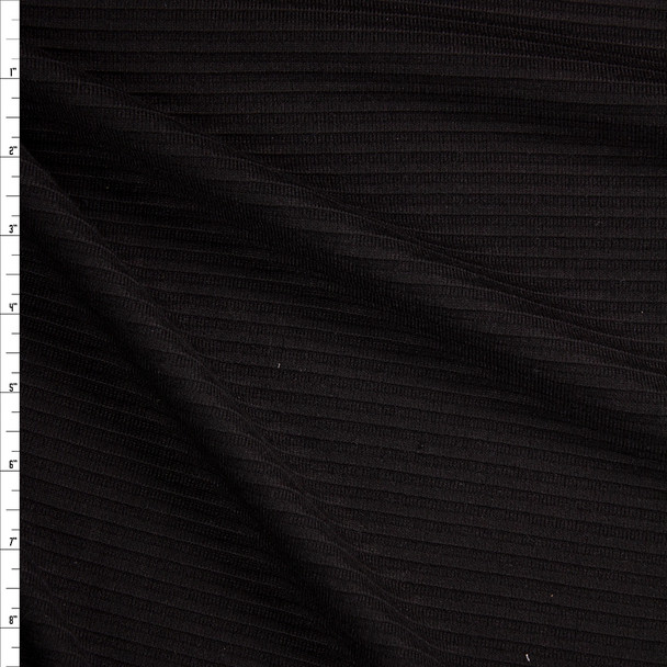 Black Horizontal Rib Brushed Sweater Knit  Fabric By The Yard