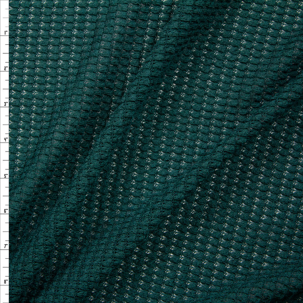 Emerald Green Chunky Waffle Knit Fabric By The Yard