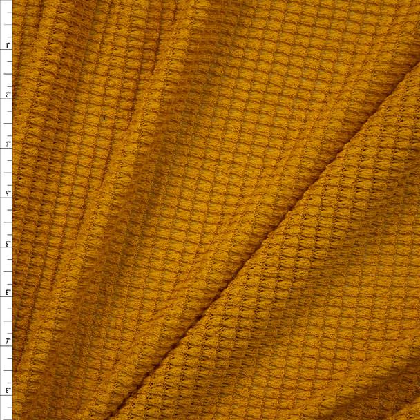 Mustard Chunky Waffle Knit Fabric By The Yard