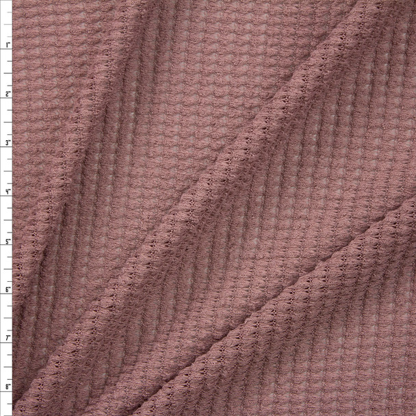 Mauve Chunky Waffle Knit Fabric By The Yard
