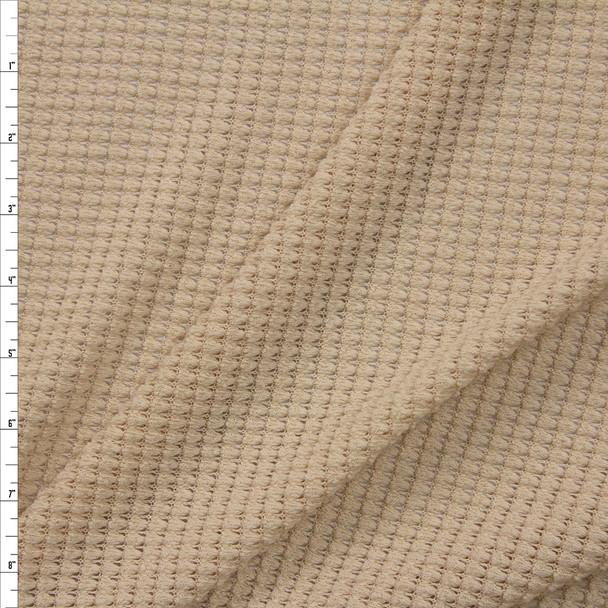 Tan Chunky Waffle Knit Fabric By The Yard