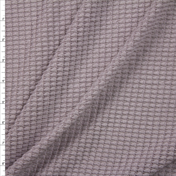 Grey Chunky Waffle Knit Fabric By The Yard