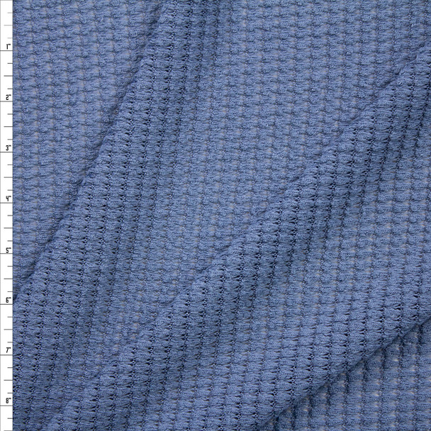 Cadet Blue Chunky Waffle Knit Fabric By The Yard
