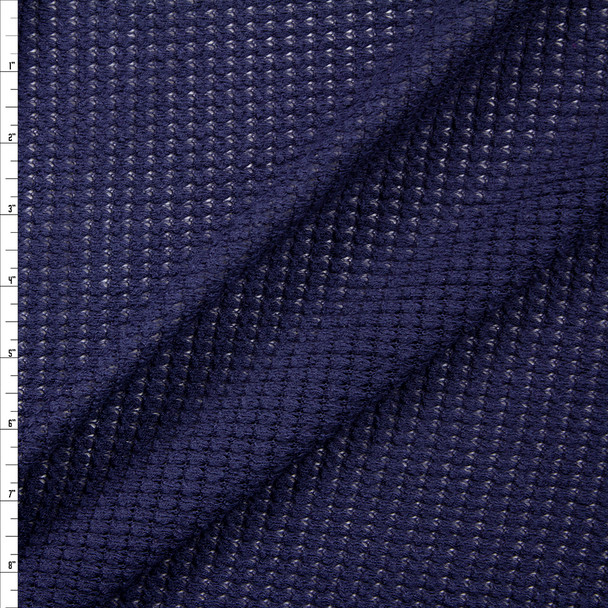 Navy Blue Chunky Waffle Knit Fabric By The Yard