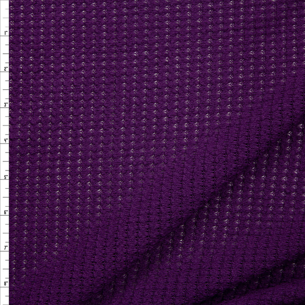 Plum Chunky Waffle Knit Fabric By The Yard