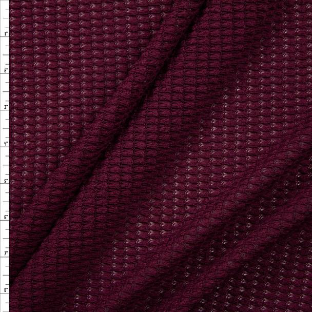 Wine Chunky Waffle Knit Fabric By The Yard
