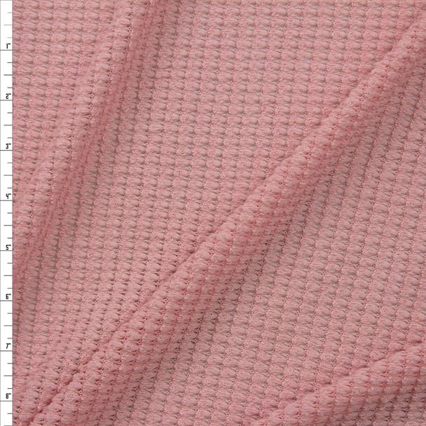 Light Rose Chunky Waffle Knit Fabric By The Yard