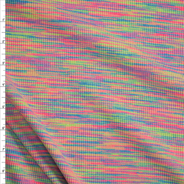 Neon Pink, Orange, Yellow, and Blue Space Dye Rib Knit Fabric By The Yard