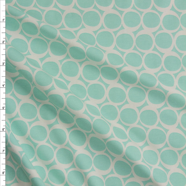 Seafoam Swirls Cotton/Spandex Knit From 'Art Gallery Fabrics' Fabric By The Yard