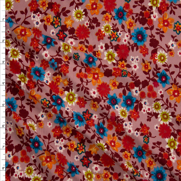 Retro Garden Floral on Mauve Double Brushed Poly/Spandex Fabric By The Yard