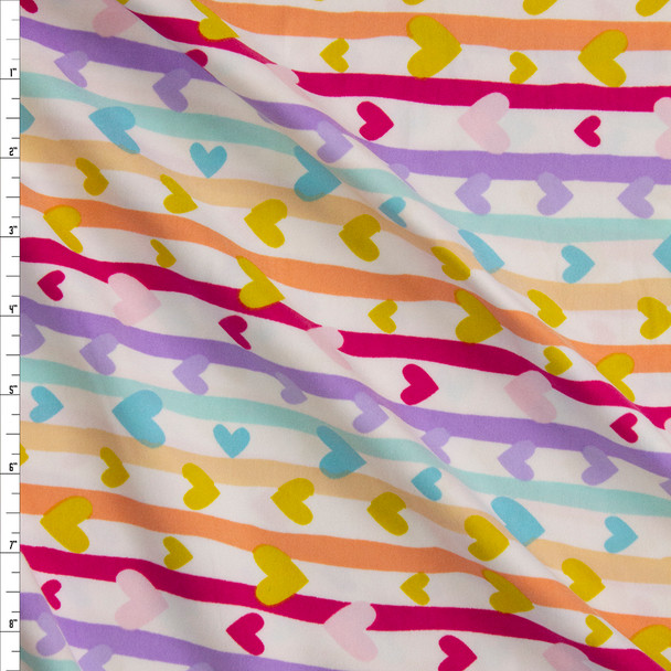Colorful Hearts and Stripes on White Double Brushed Poly/Spandex Fabric By The Yard