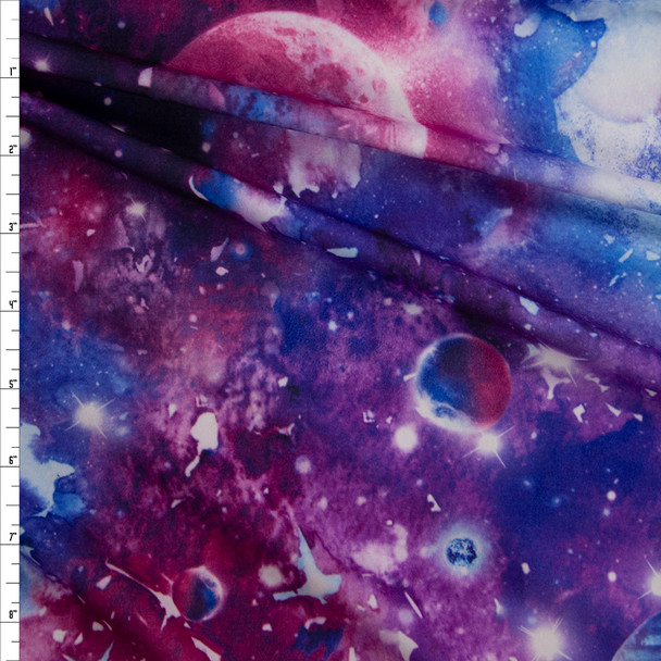 Plum, Hot Pink, and Blue Cosmos Double Brushed Poly/Spandex Fabric By The Yard