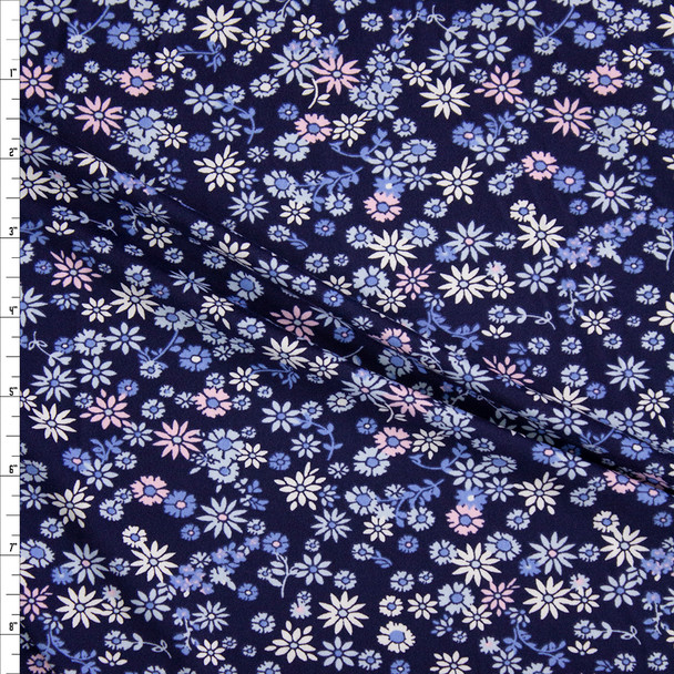 Pink, Light Blue, and White Mini Floral on Navy Blue Double Brushed Poly/Spandex Fabric By The Yard