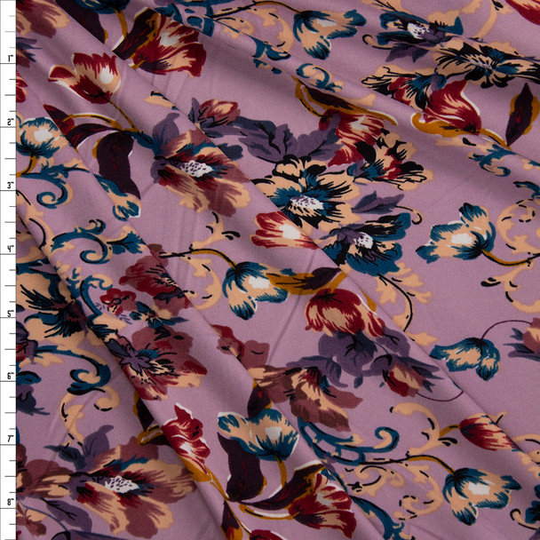 Burgundy, Navy, and Tan Scrolling Floral on Lilac Double Brushed Poly/Spandex Fabric By The Yard
