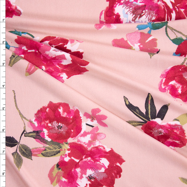 Hot Pink Paintbrush Floral on Blush Double Brushed Poly/Spandex Fabric By The Yard