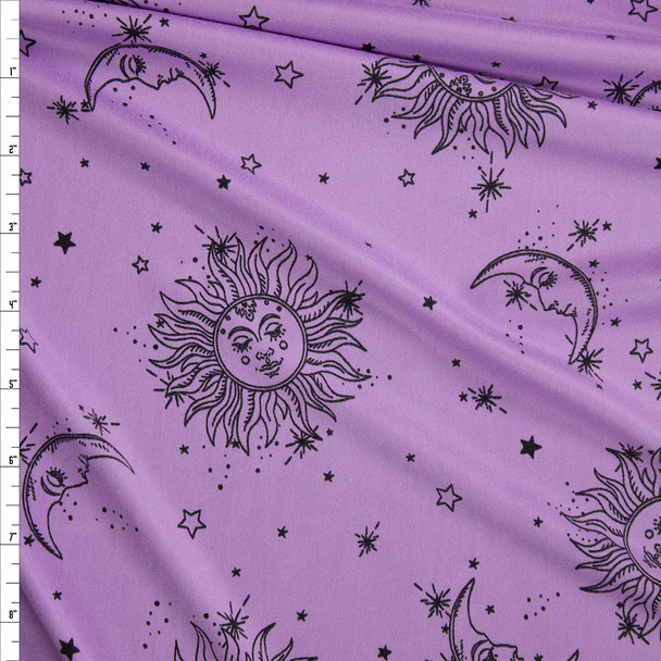 Black Sun and Moon on Lavender Double Brushed Poly/Spandex Fabric By The Yard