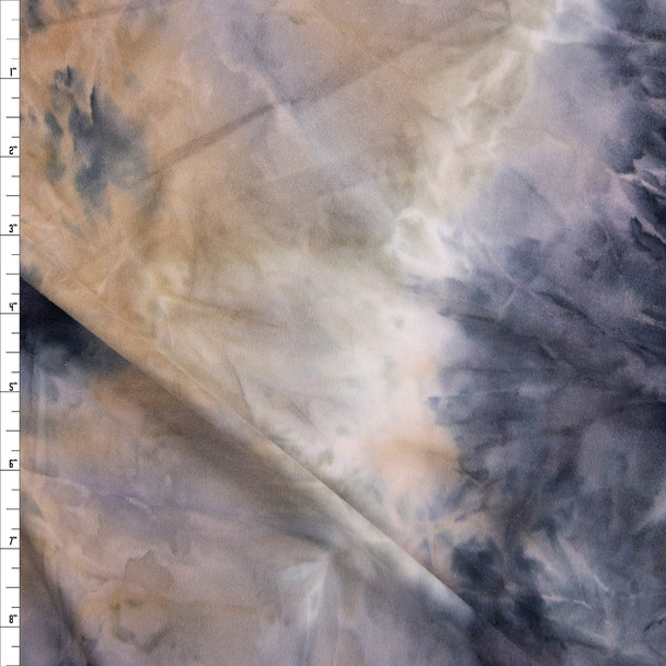 Navy, Tan, and Grey Tie Dye Double Brushed Poly/Spandex Fabric By The Yard