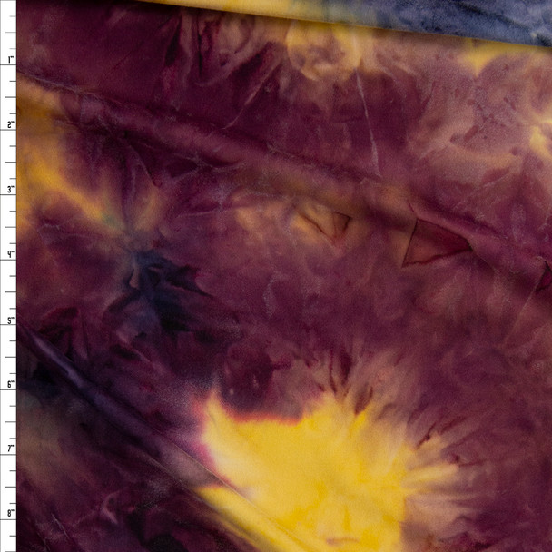 Plum, Yellow, and Navy Tie Dye Double Brushed Poly/Spandex Fabric By The Yard