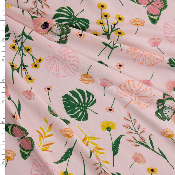 Butterflies and Flowers on Blush Double Brushed Poly/Spandex Fabric By The Yard