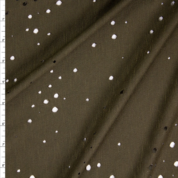 Olive Green Holey Rayon French Terry Fabric By The Yard