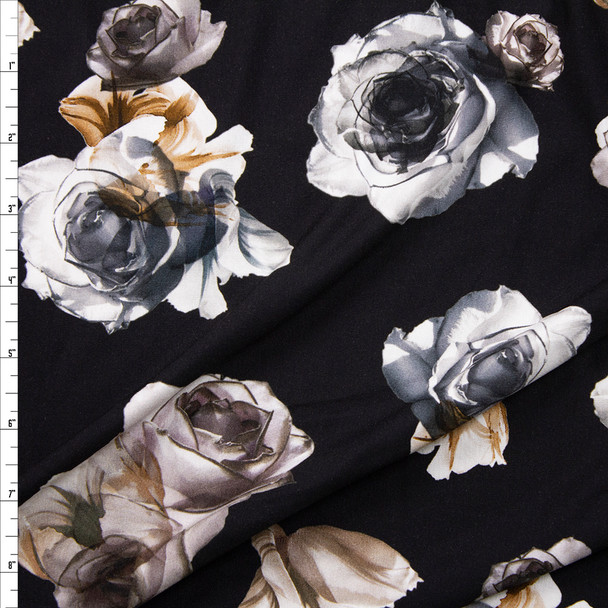 Grey and Tan Roses on Black Stretch Rayon Jersey Knit Fabric By The Yard