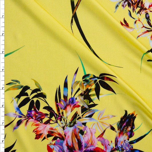 Neon Floral on Butter Yellow Stretch Rayon Jersey Knit Fabric By The Yard