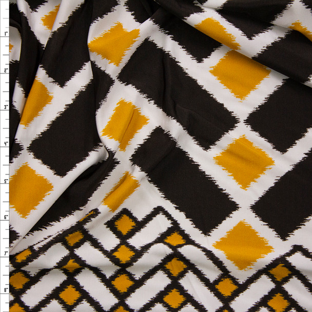 Black, White, and Yellow Geometric Border Print Stretch Polyester Jersey Knit Fabric By The Yard