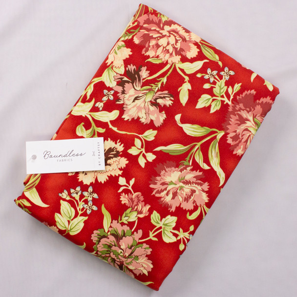 Boundless Posy Meadow Main Floral Red (5y Bargain Cut) Fabric By The Yard
