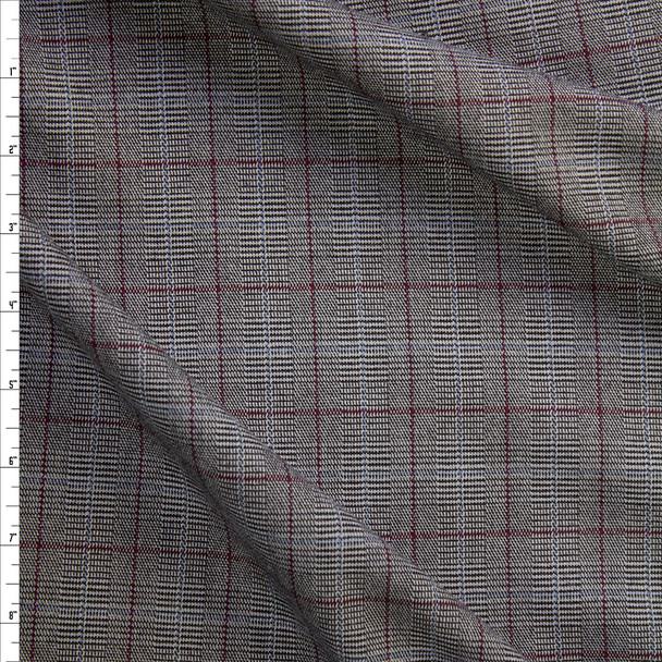 Grey, Wine, and Slate Plaid Stretch Suiting Fabric By The Yard