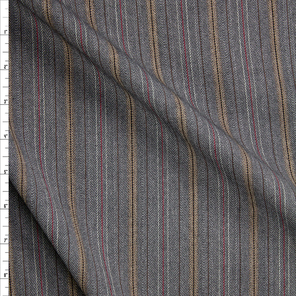 Grey, Black, and Red Vertical Stripe Stretch Suiting Fabric By The Yard