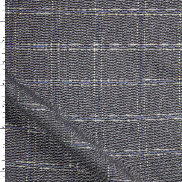 Grey, White, and Slate Plaid Stretch Suiting Fabric By The Yard