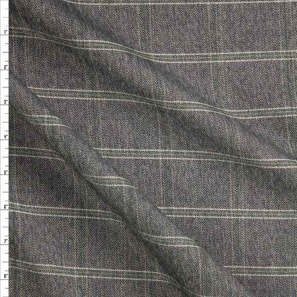 Grey, Ivory, and Sage Plaid Stretch Suiting Fabric By The Yard