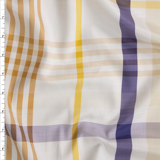 Tan, Blue, Yellow, and White Plaid Cotton Sateen Fabric By The Yard
