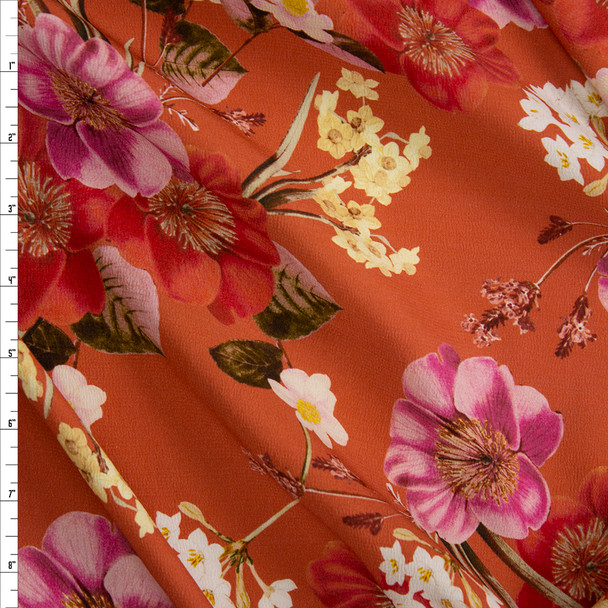 Pink and Rust Floral on Terracotta Rayon Georgette Fabric By The Yard