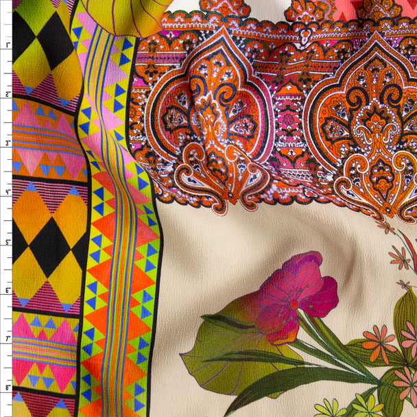 Colorful Bohemian Floral Tiles Rayon Georgette Fabric By The Yard